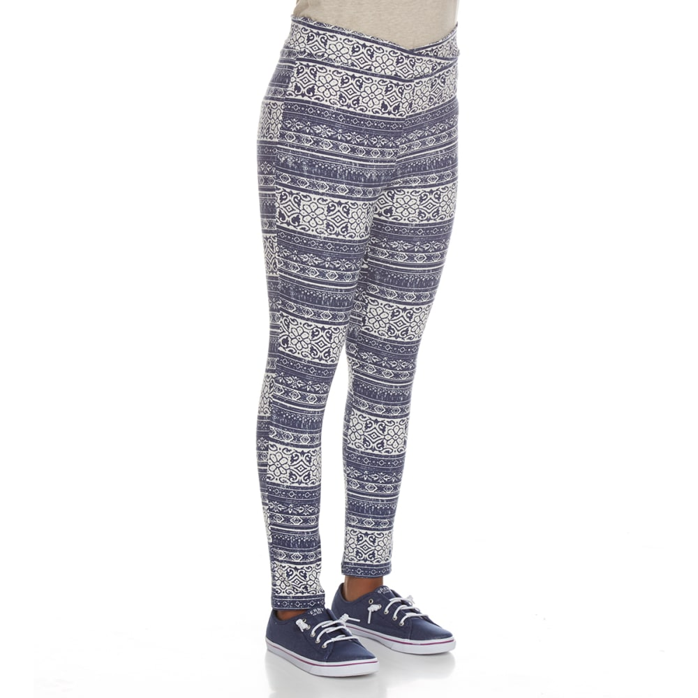 POOF Girls' Peached Printed Leggings - INDIGO/IVORY MULTI