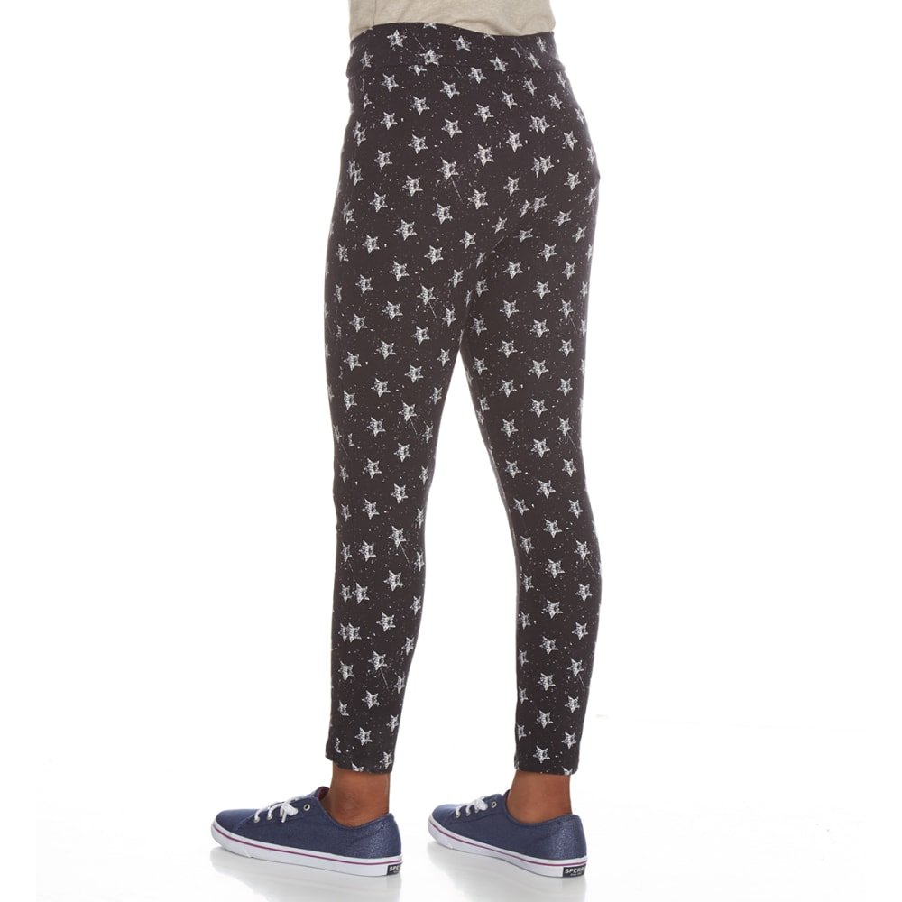 POOF Girls' Peached Star Print Leggings - BLACK