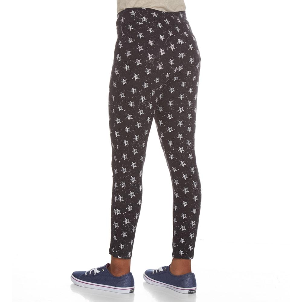 POOF Girls' Peached Star Print Leggings - BLACK