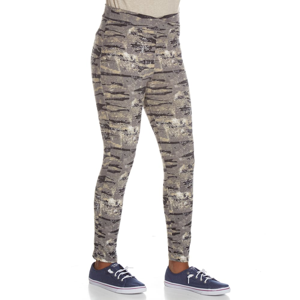 POOF Girls' Peached Camo Print Leggings - GREY COMBO