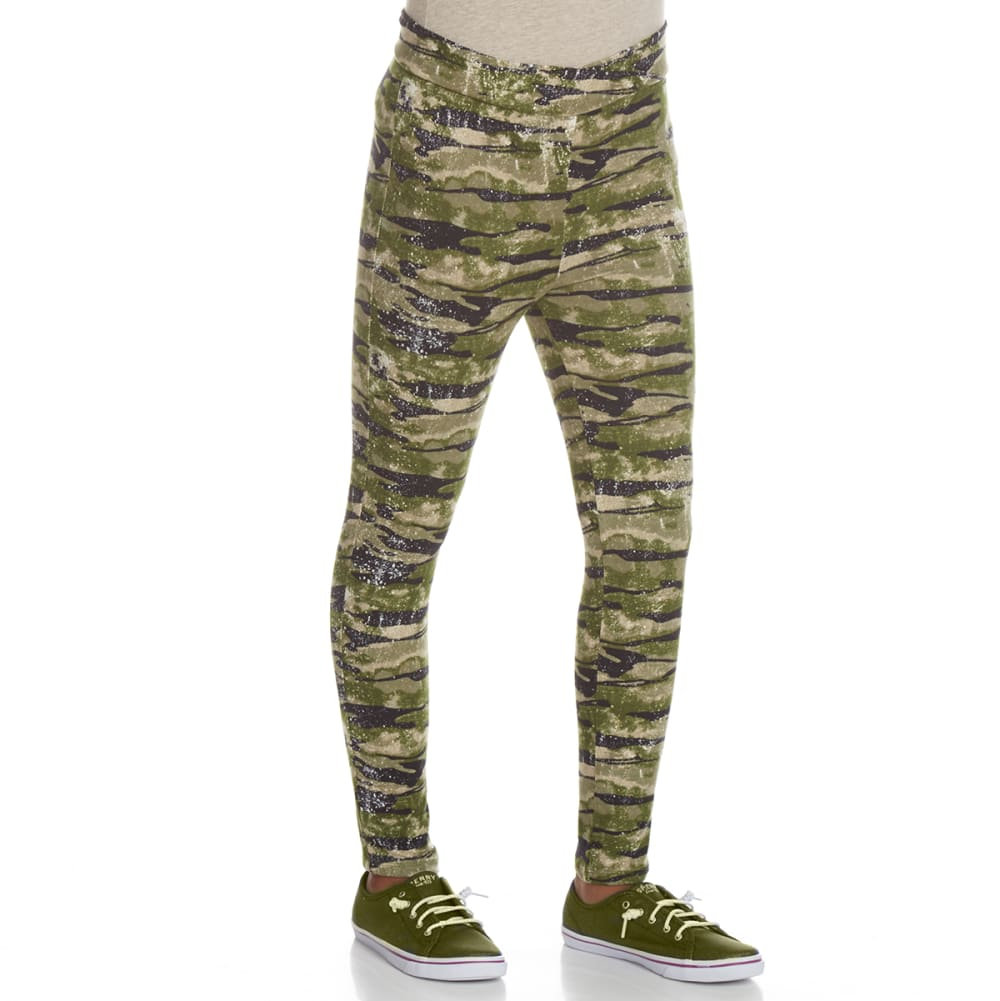 POOF Girls' Peached Camo Print Leggings - OLIVE COMBO