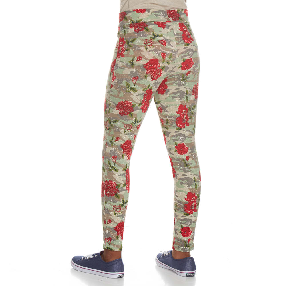 POOF Girls' Peached Rose Camo Print Leggings - OLIVE/RED COMBO