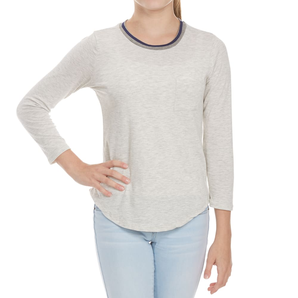 POOF Juniors' Ringer Long Sleeve Tee - WHITE HEATHER