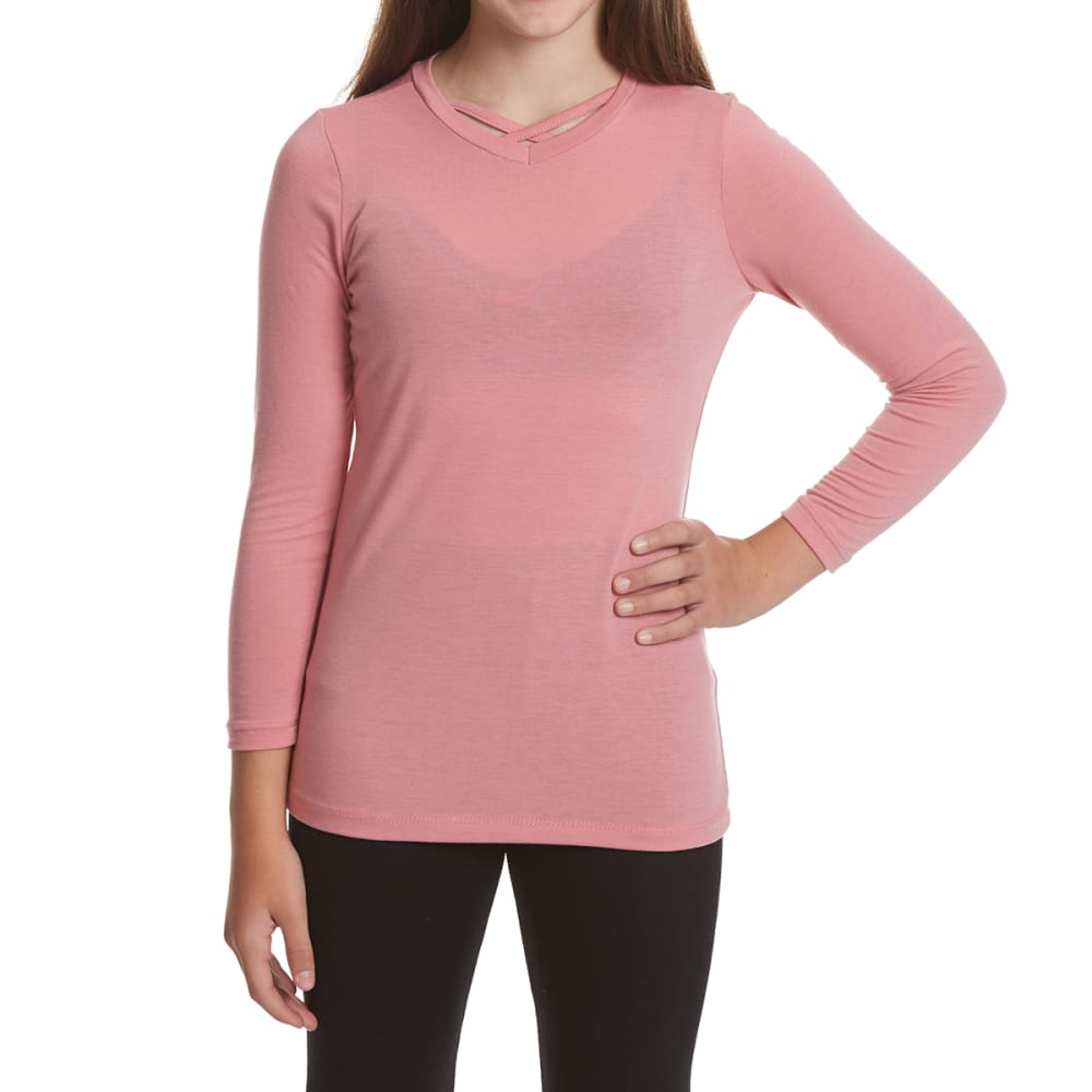 POOF Girls' Cage Front Long-Sleeve Tee - MAUVELOUS