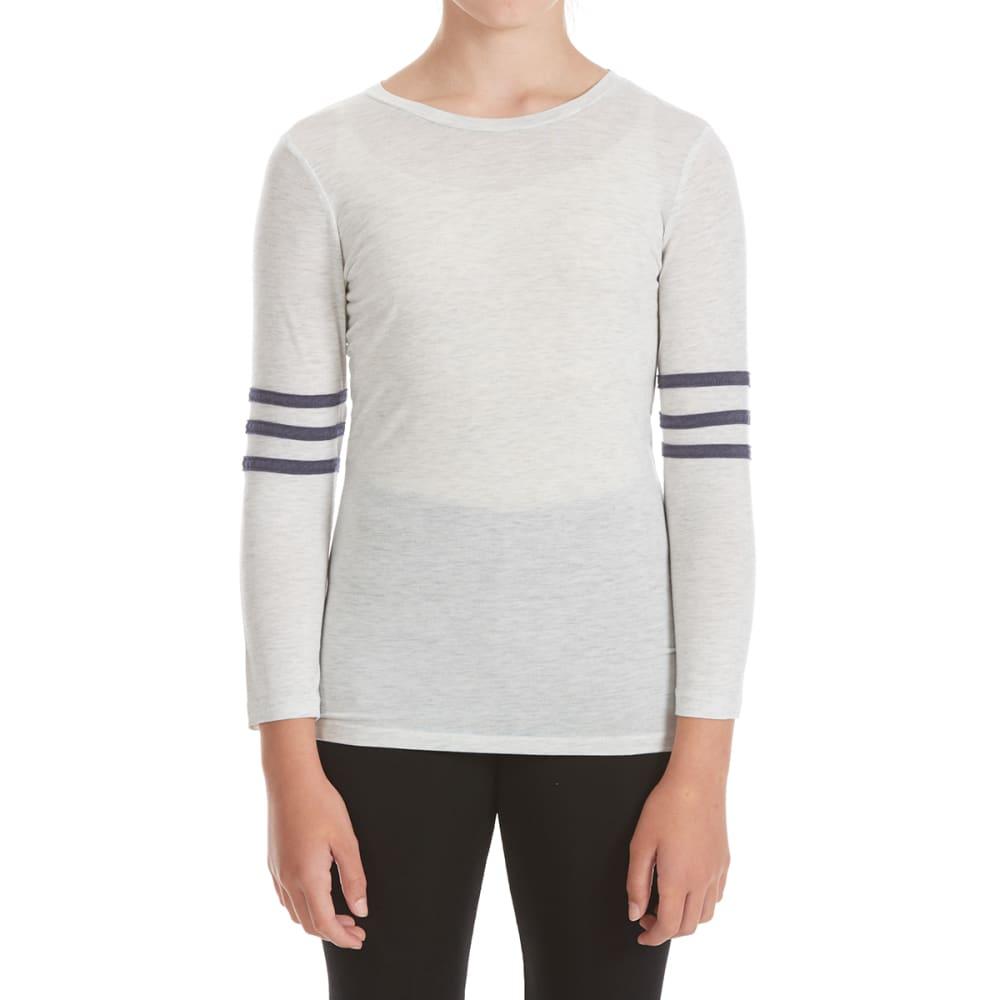 POOF Girls' Varsity Football Long-Sleeve Tee - WHITE HEATHER
