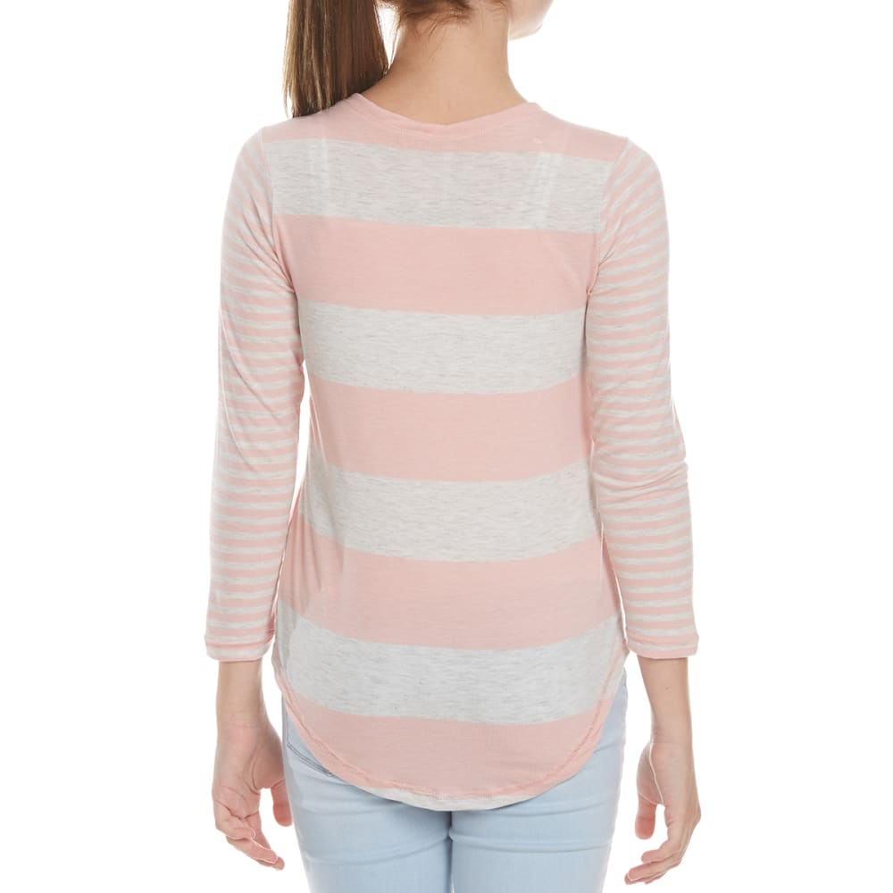 POOF Girls' Striped Long Sleeve FB Tee - MELLOW ROSE/WHITE