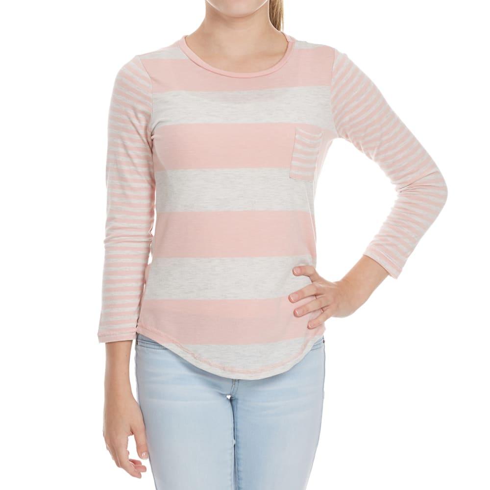 POOF Girls' Striped Long Sleeve FB Tee - MELLOW ROSE/WHITE