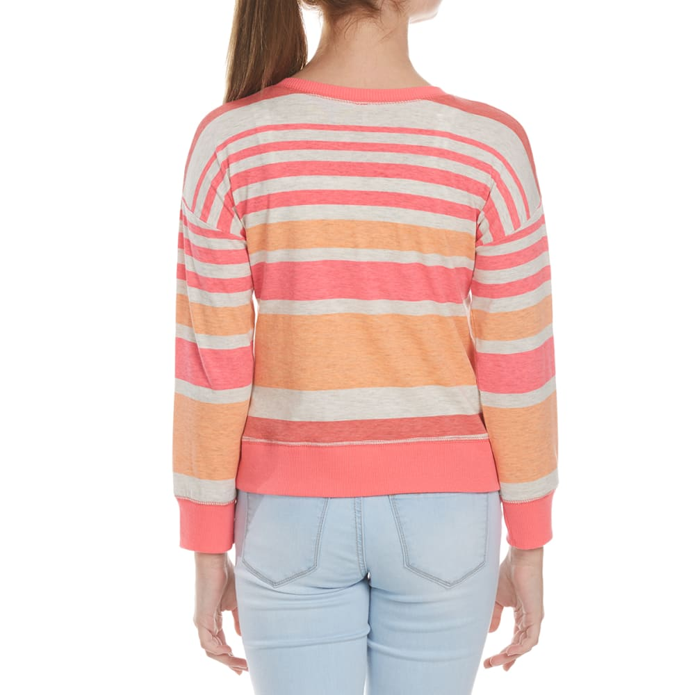 POOF Girls' Multi-Stripe Knit Long-Sleeve Shirt - CRAZY CORAL COMBO