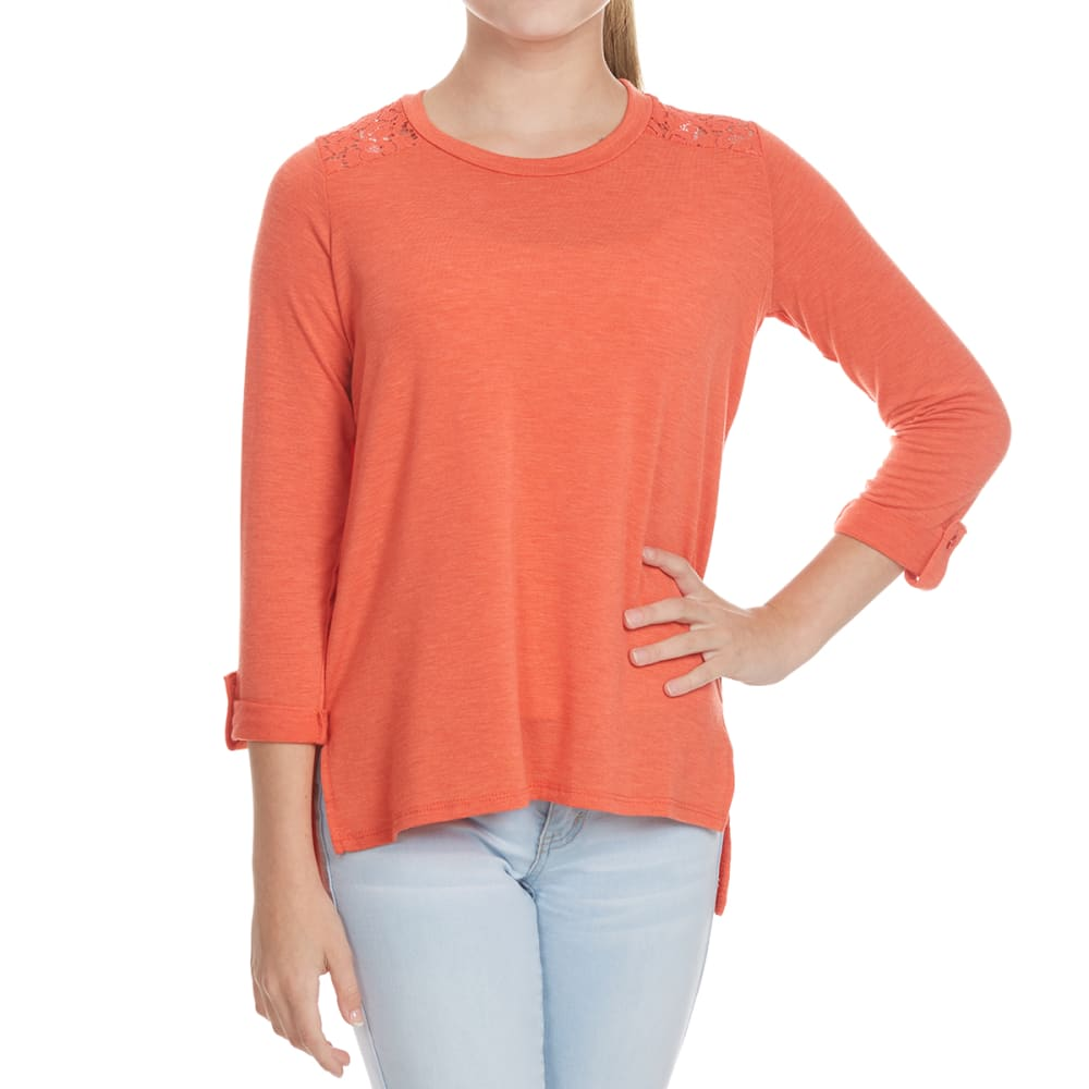 POOF Girls' Lace Yoke Roll-Tab Long-Sleeve Top - NEW HEATHER CORAL