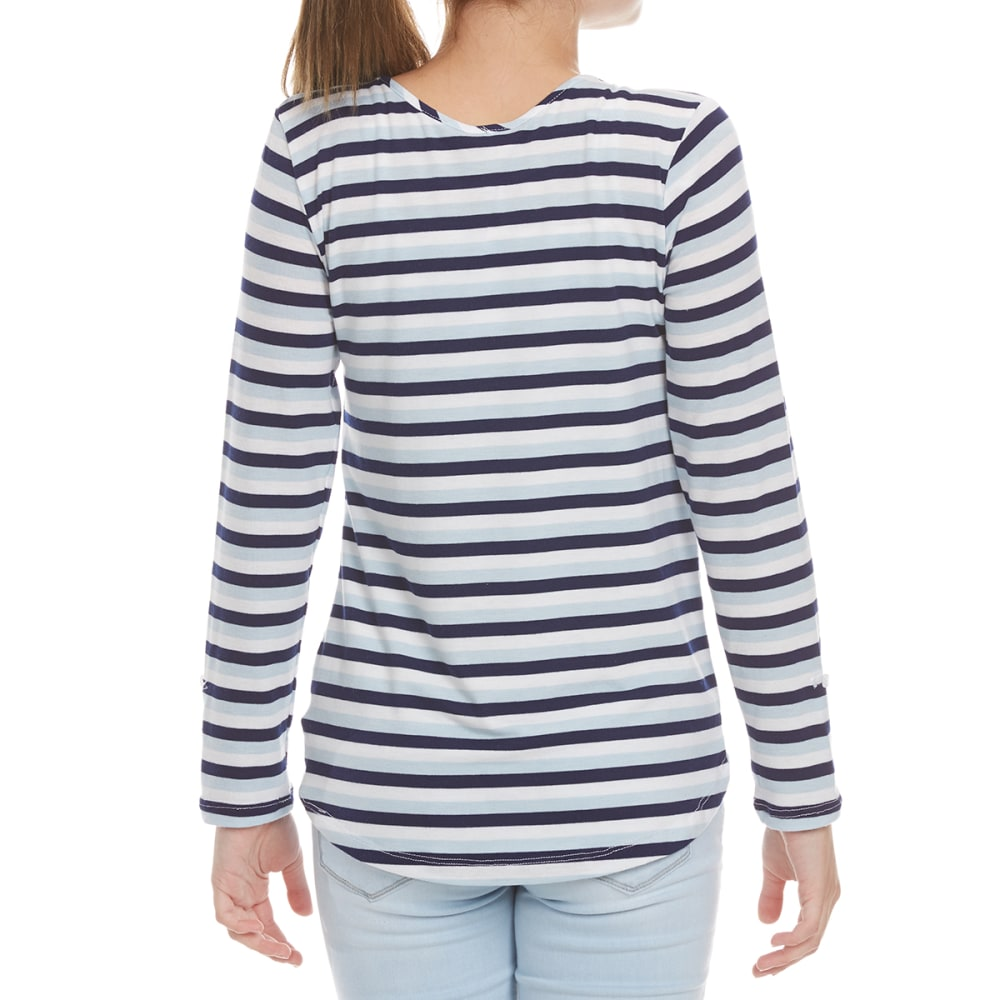 POOF Girls' Striped Sequin Pocket Long-Sleeve Tee - NEW NAVY/WHT/CHAMBRA