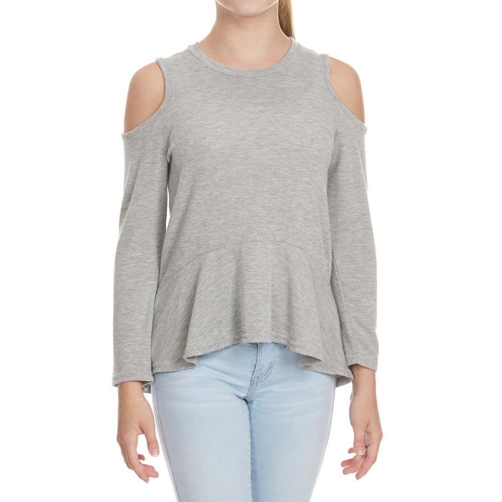 POOF Girls' Cold Shoulder Ruffled Hem Long-Sleeve Top - LT GREY HEATHER
