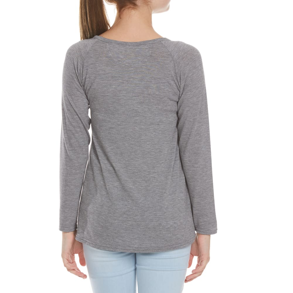 POOF Girls' Lace Pocket Long Sleeve Knit - GREY HEATHER