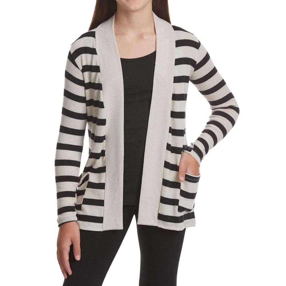POOF Girls' Striped Cozy Cardigan - OATMEAL/BLACK
