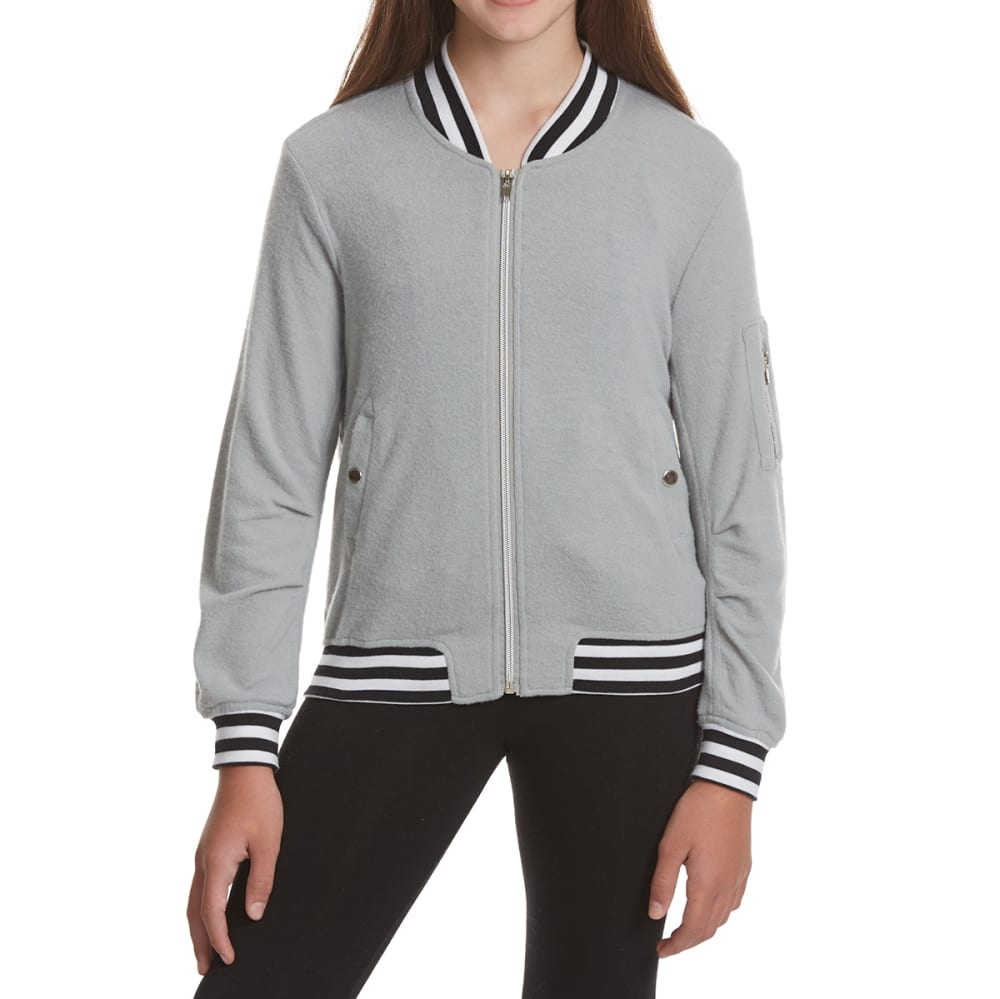 POOF Girls' Striped Trim Bomber Jacket - CONCRETE GREY