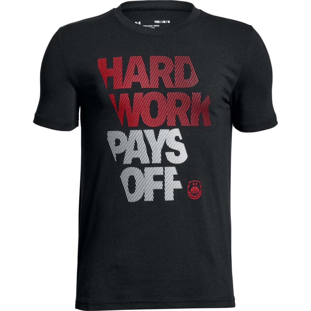 UNDER ARMOUR Big Boys' UA Hard Work Basketball Short-Sleeve Shirt - BLK/WHT/RED-001