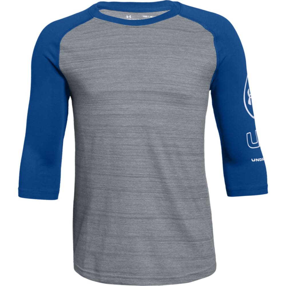 UNDER ARMOUR Big Boys' MVP Power Long-Sleeve Tee - STEEL/ROYAL-035