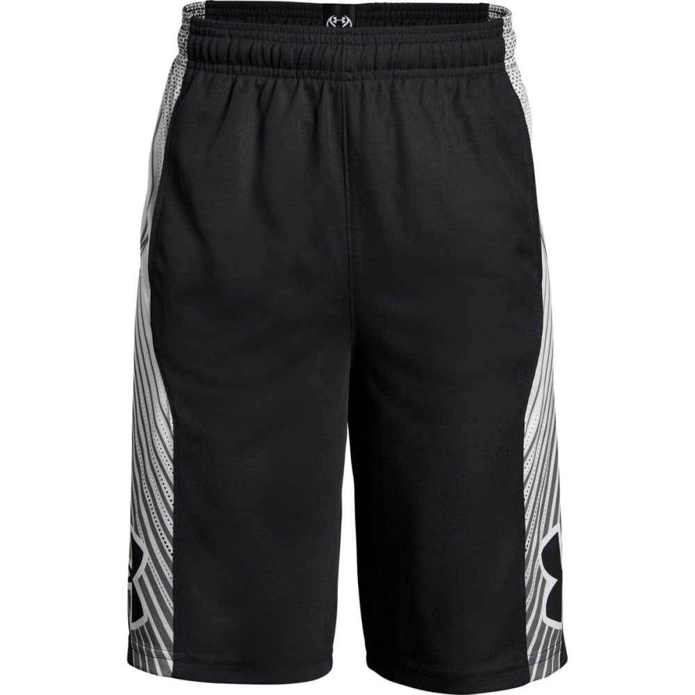 UNDER ARMOUR Big Boys' UA Space the Floor Basketball Shorts - BLACK/WHITE-001