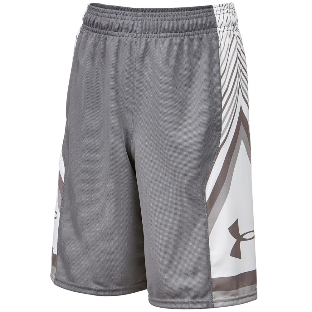 UNDER ARMOUR Big Boys' UA Space the Floor Basketball Shorts - GRAPHITE/WHITE-040