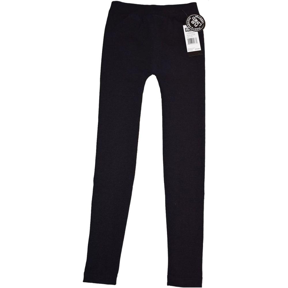 STAR RIDE Big Girls' Solid Fur-Lined Leggings - BLACK