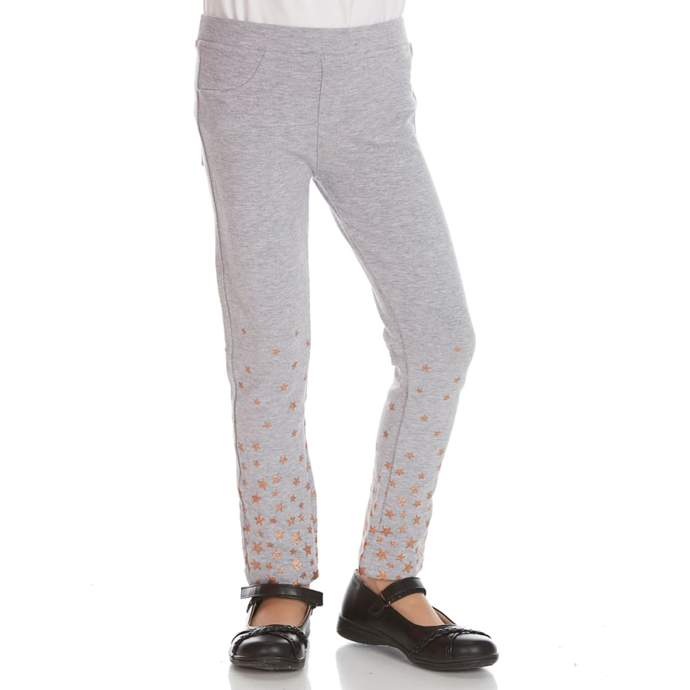 FREESTYLE Girls' Caviar/Stars French Terry Jeggings, 2-Pack - CAVIAR/HGRY STARS