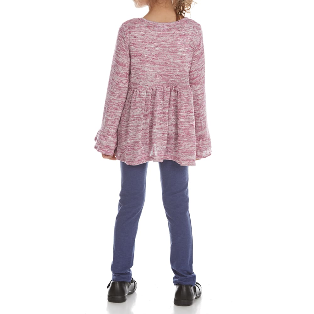 FREESTYLE Girls' Leggings & Embroidered Hacci Knit Top Set - PURPLE/H DENIM