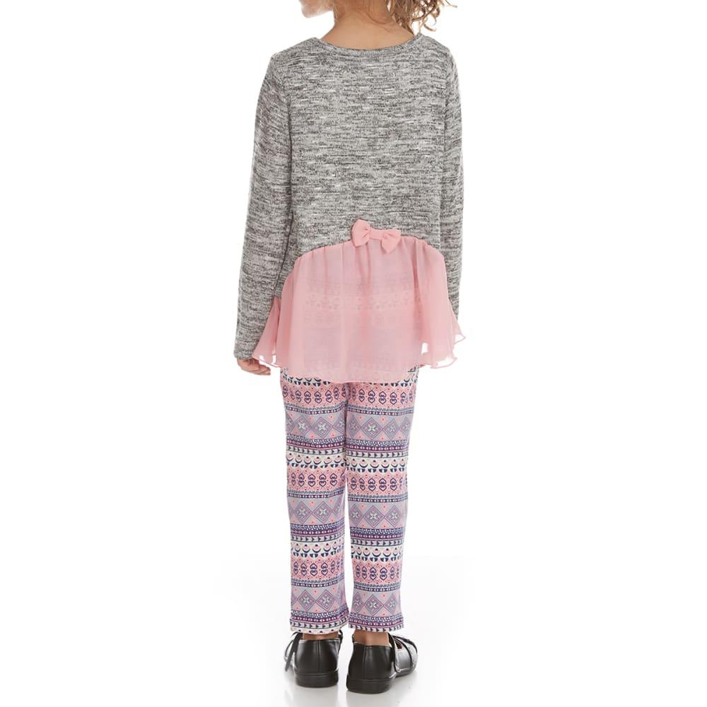 FREESTYLE Girls' Heart Hacci Leggings and Shirt Set - GREY/PINK