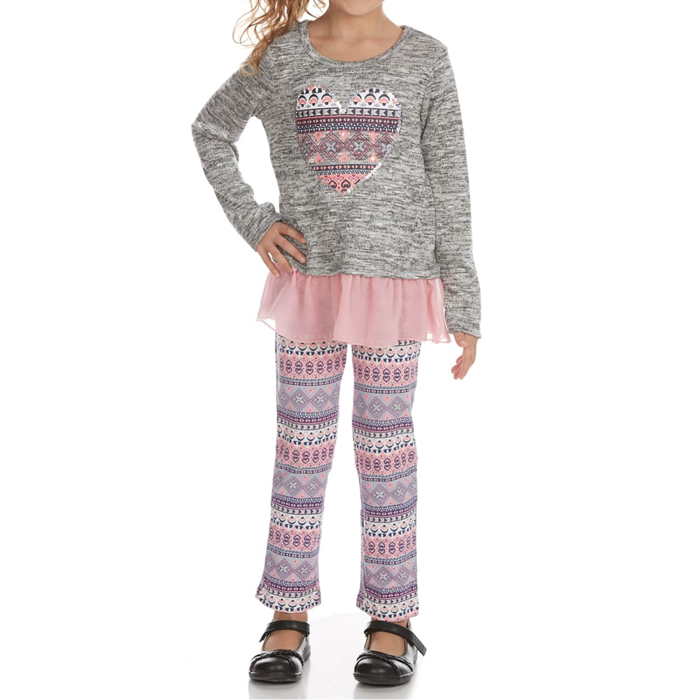 FREESTYLE Girls' Heart Hacci Leggings and Shirt Set - GREY/PINK