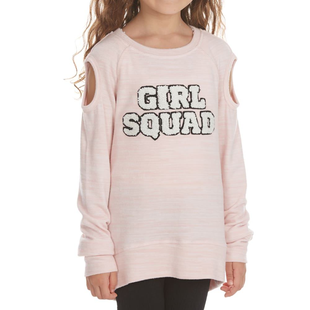 FREESTYLE Girls' Girl Squad Cold-Shoulder Fleece Pullover - PINK