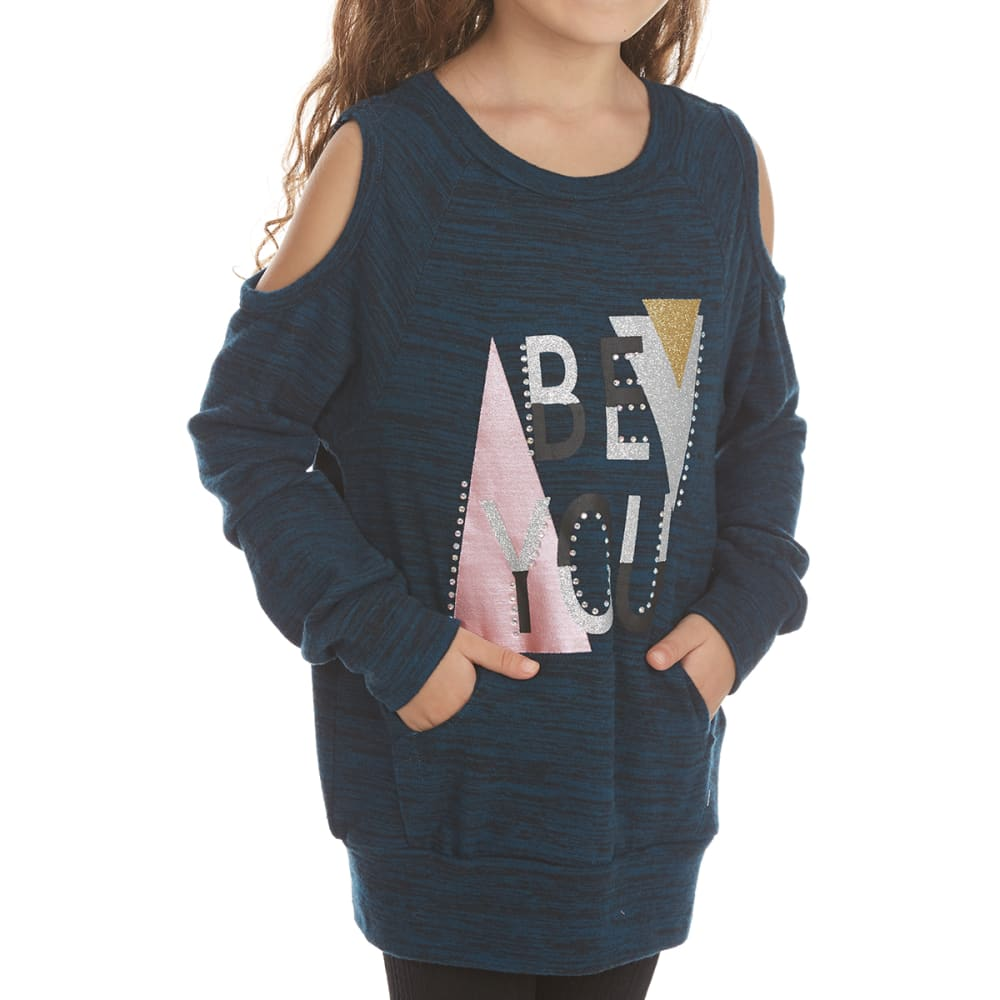 FREESTYLE Girls' Be You Cold-Shoulder Fleece Pullover - NAVY
