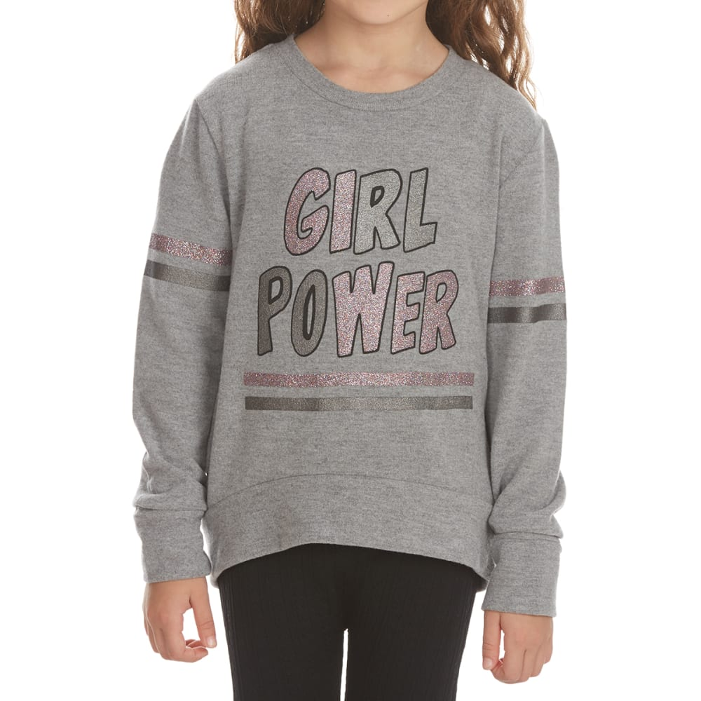 FREESTYLE Girls' Girl Power Varsity Power Fleece Pullover - HEATHER GREY