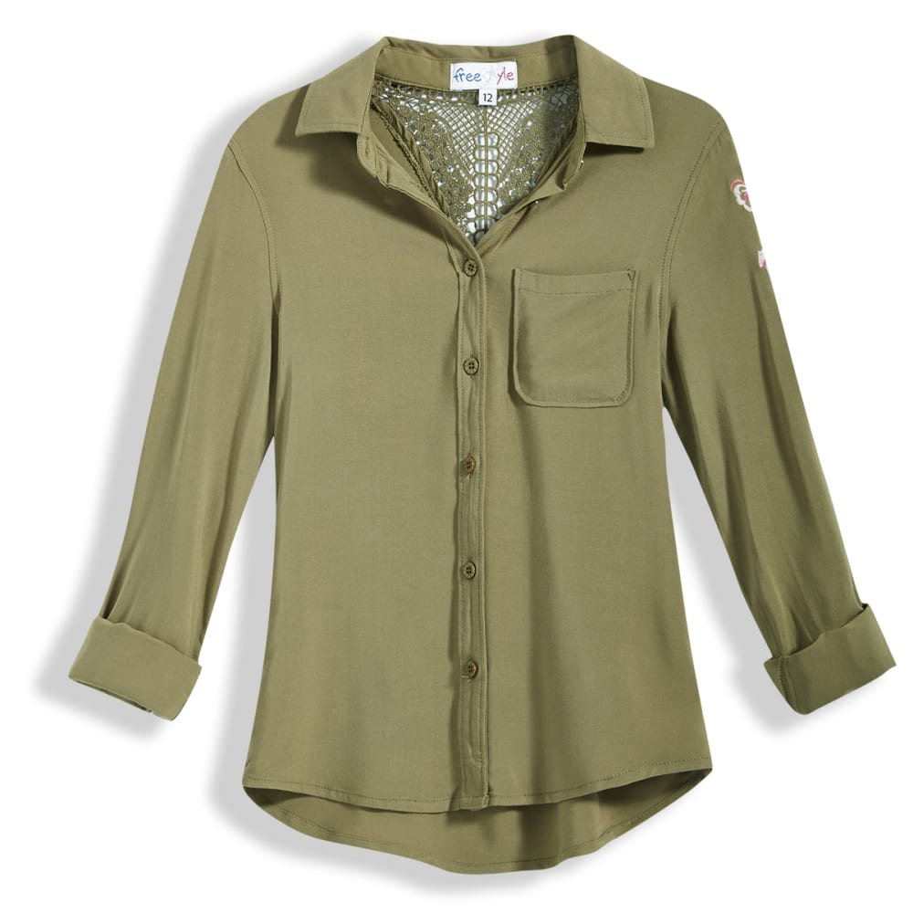 FREESTYLE Girls' Embroidered Denim Long-Sleeve Shirt - OLIVE