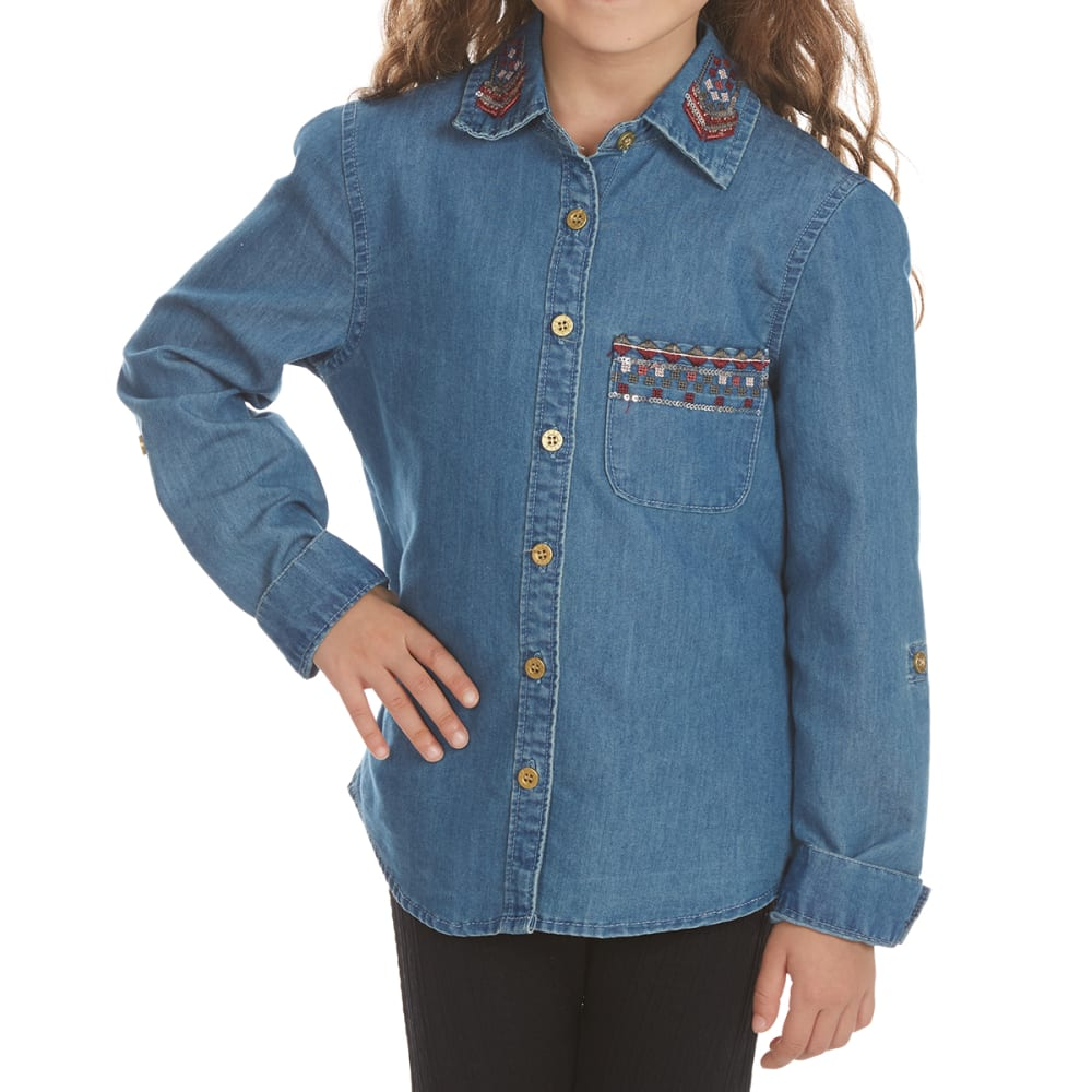 FREESTYLE Girls' Embroidered Denim Long-Sleeve Shirt - MED WASH