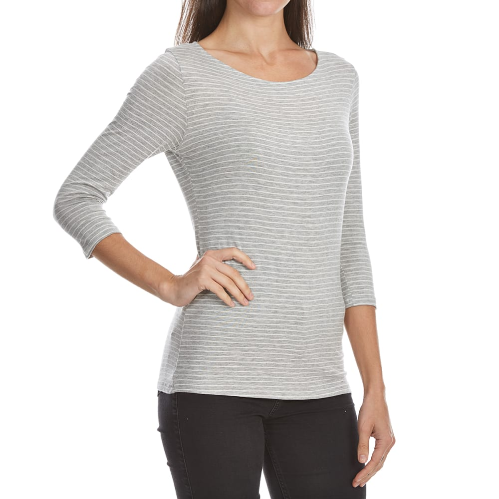 TRESICS FEMME Women's Striped ¾-Sleeve Tee - H.GREY/OFF WHITE