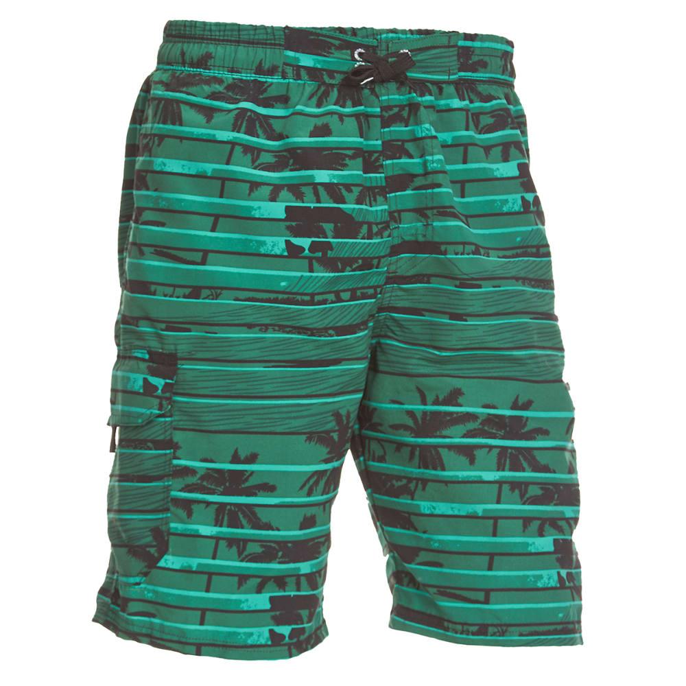 BLUE GEAR Men's Solid with Print Boardshorts - DARK GREEN