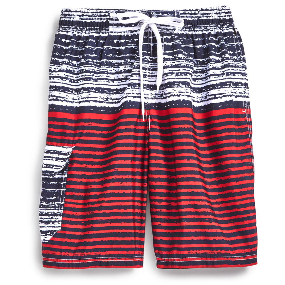 BLUE GEAR Men's Solid Bottom Boardshorts - DK RED-3