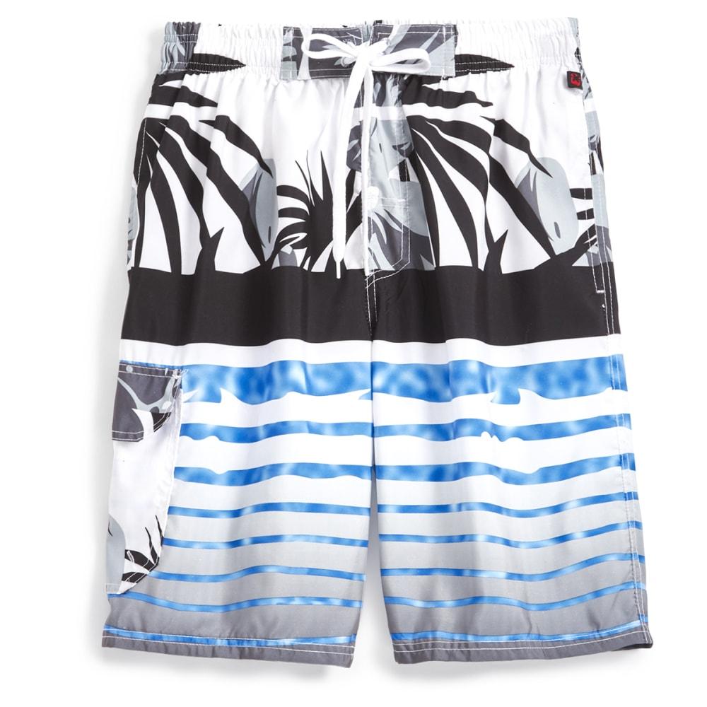 BLUE GEAR Men's Floral/Stripe Boardshorts - BLACK-4