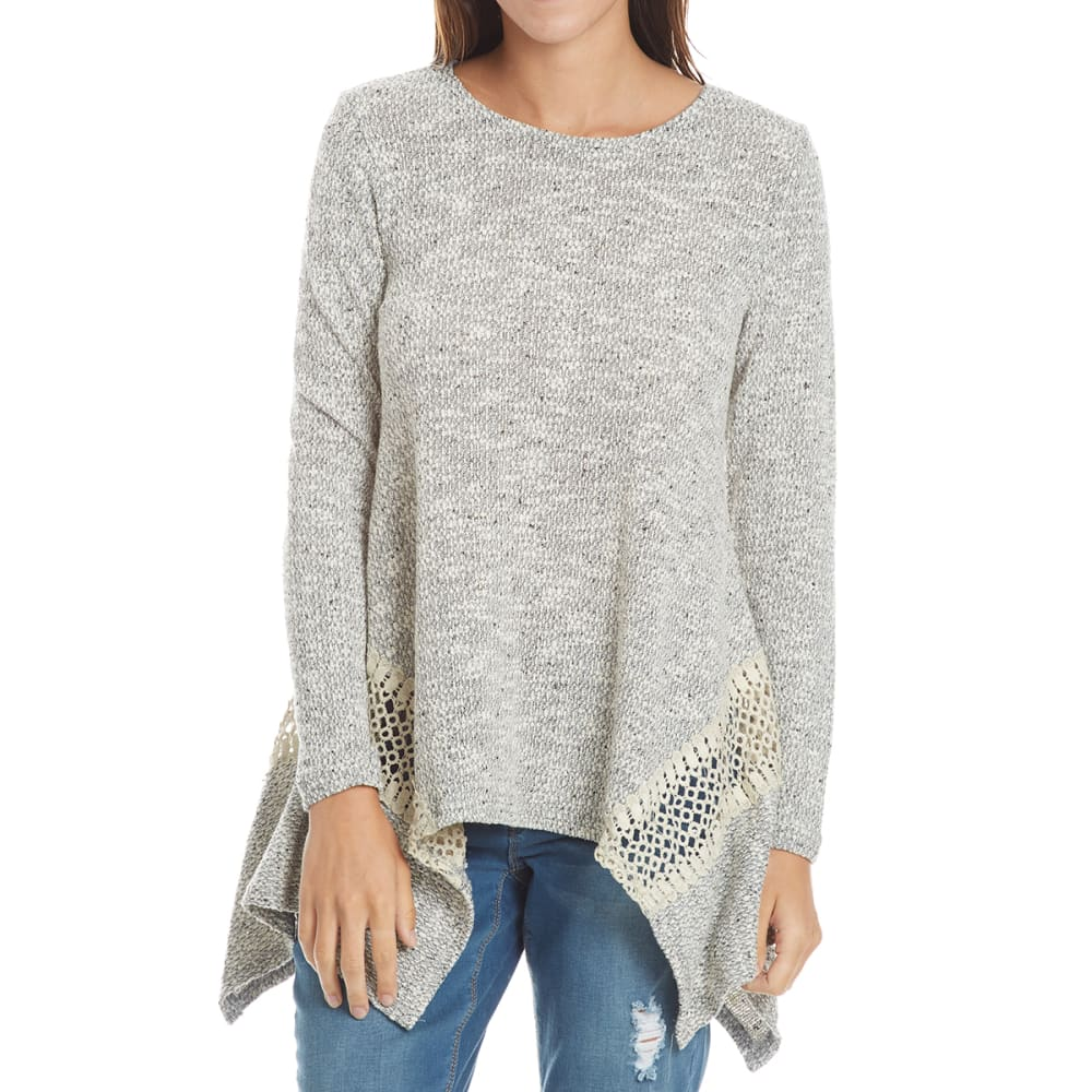 THYME & HONEY Women's Shark Bite Long-Sleeve Sweater with Crochet Inserts - EGGWHITE/HTHR GREY