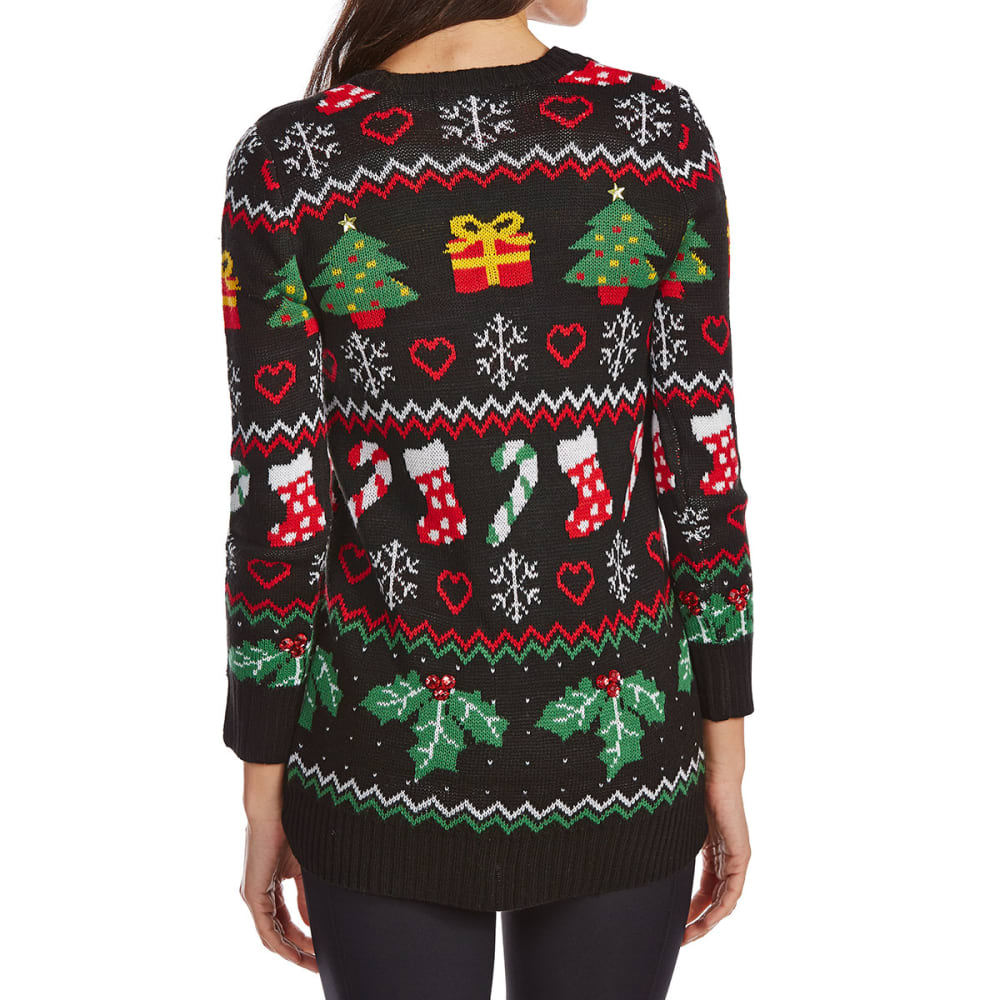 ABSOLUTELY FAMOUS Women's Ugly Sweater Christmas Cardigan - BLACK COMBO