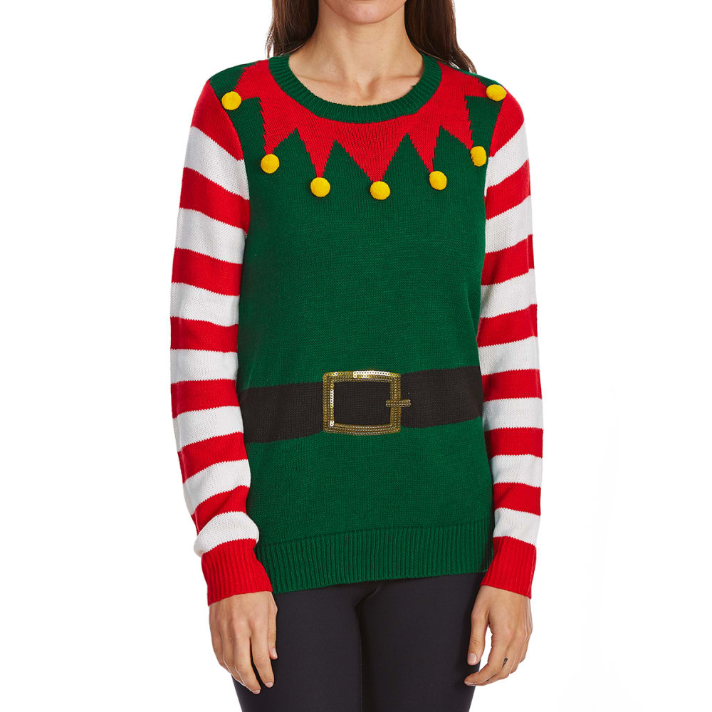 ABSOLUTELY FAMOUS Women's Elf Long-Sleeve Sweater - GREEN COMBO