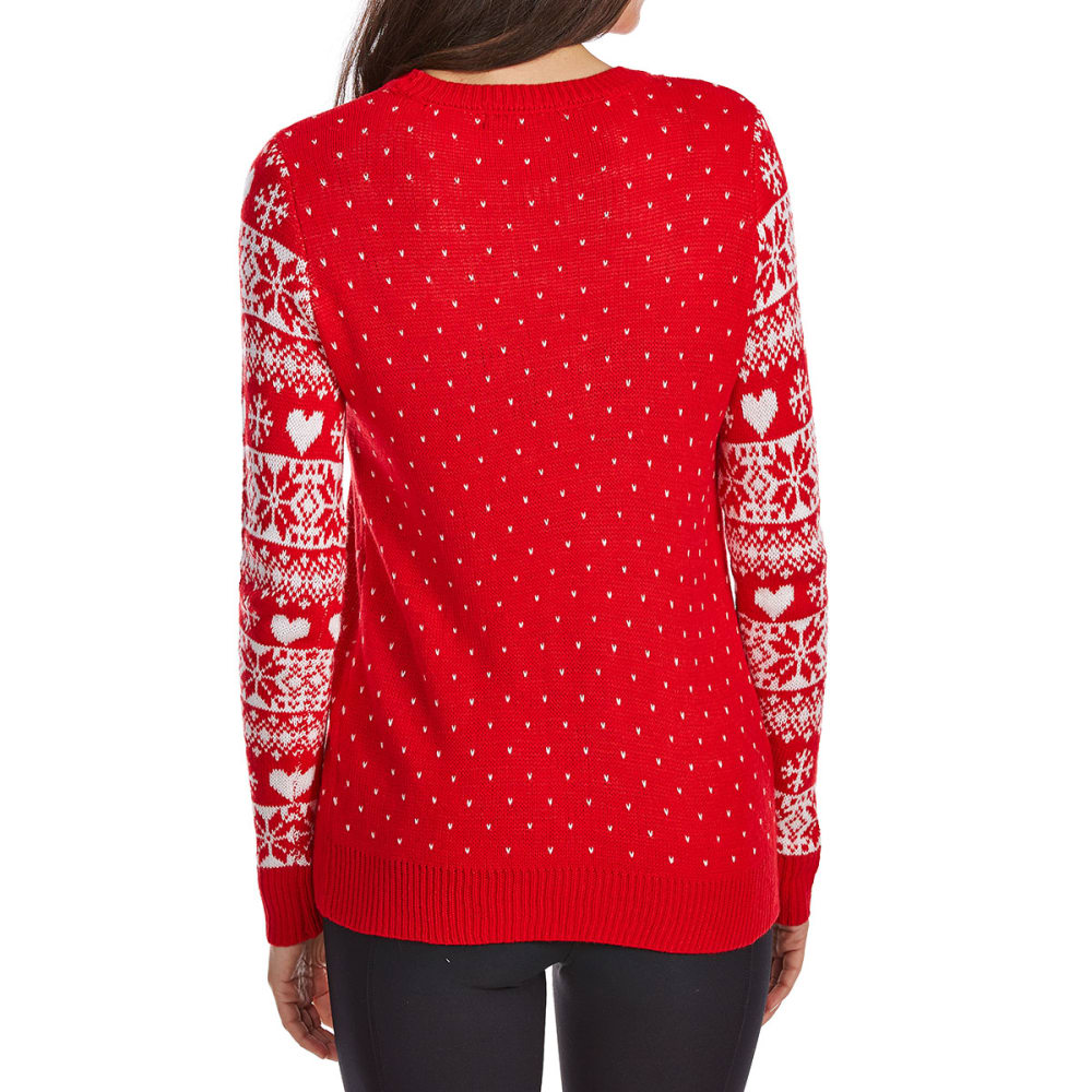 ABSOLUTELY FAMOUS Women's Moose Long-Sleeve Christmas Sweater - RED COMBO
