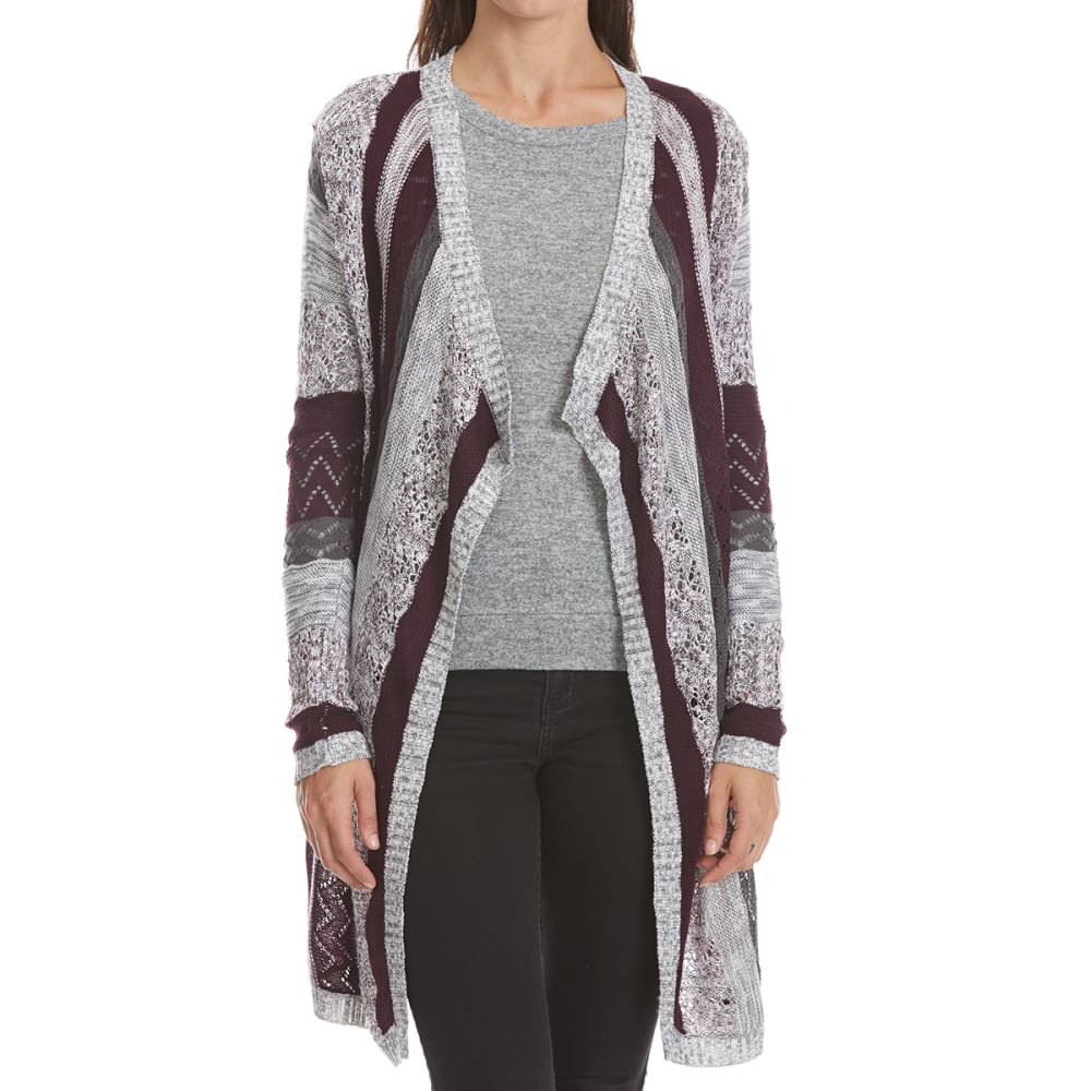 ABSOLUTELY FAMOUS Women's Stripe Cascade Cardigan - EGGPLANT/CHAR GREY