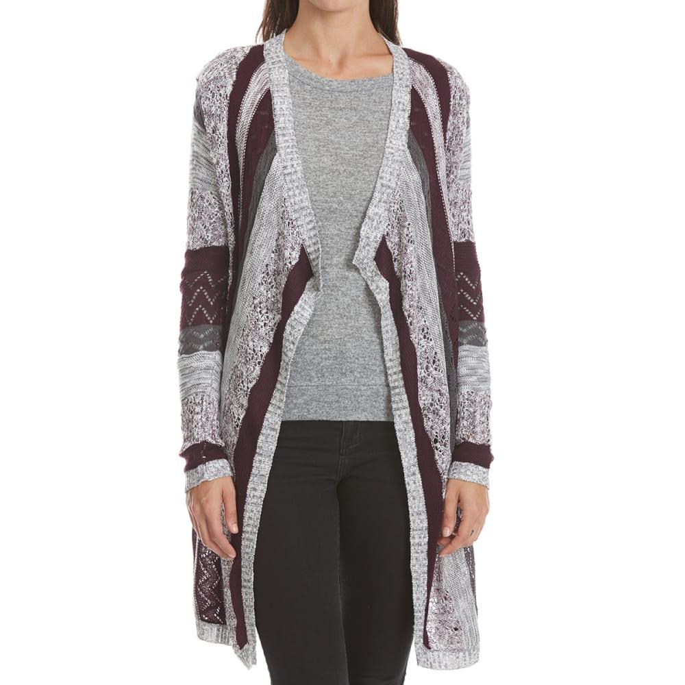 ABSOLUTELY FAMOUS Women's Stripe Cascade Cardigan - EGGPLANT/CHAR GREY