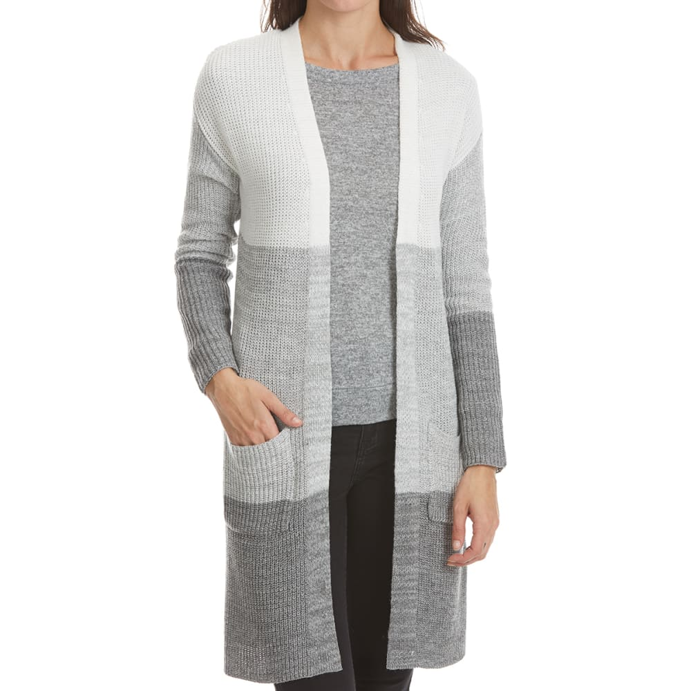 ABSOLUTELY FAMOUS Women's Color Block Duster Cardigan - GREY COMBO