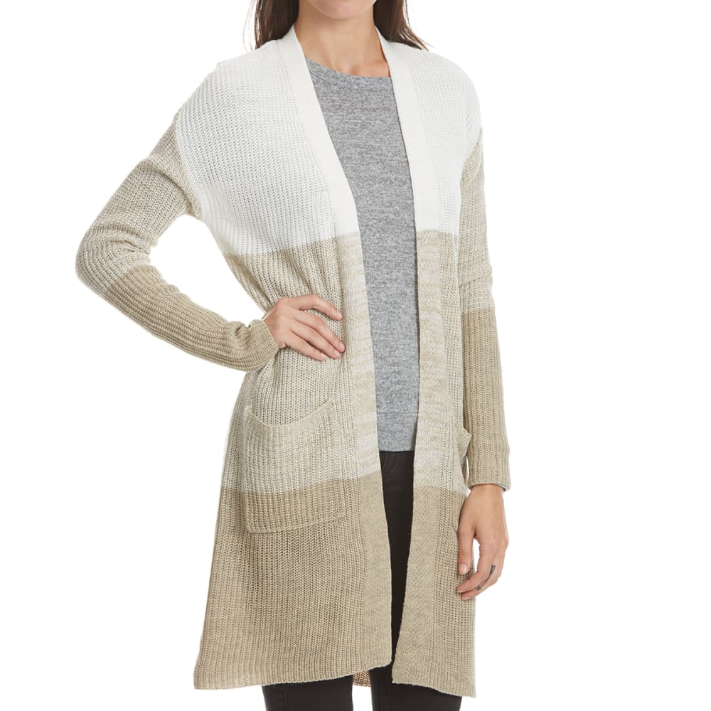 ABSOLUTELY FAMOUS Women's Color Block Duster Cardigan - OATMEAL COMBO