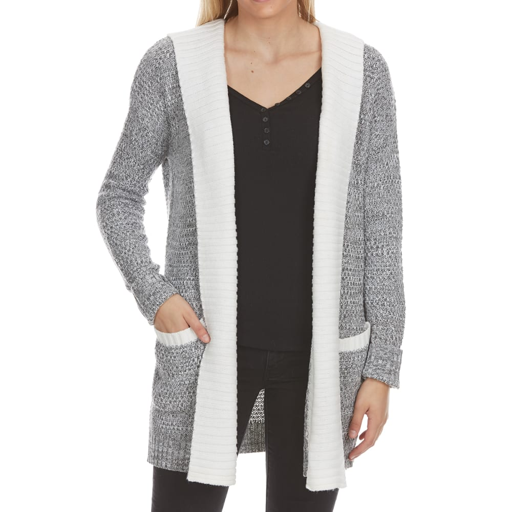 ABSOLUTELY FAMOUS Women's Marled Double-Layer Hooded Cardigan - CHAR HTHR MARL COMBO