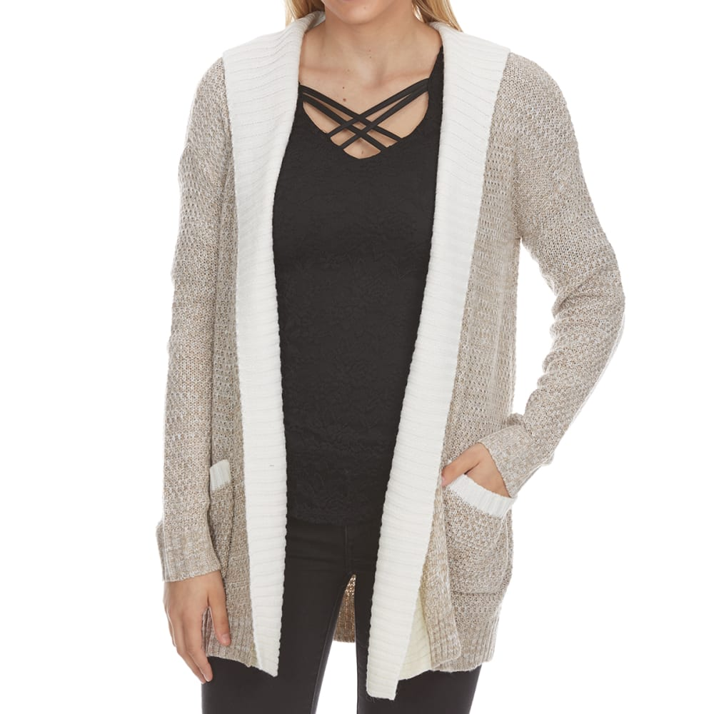 ABSOLUTELY FAMOUS Women's Marled Double-Layer Hooded Cardigan - OATMEAL MARL COMBO