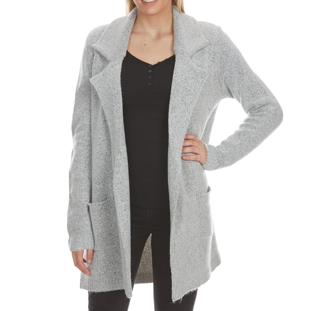 ABSOLUTELY FAMOUS Women's Mossy Collared Sweater Jacket - SILVER GREY
