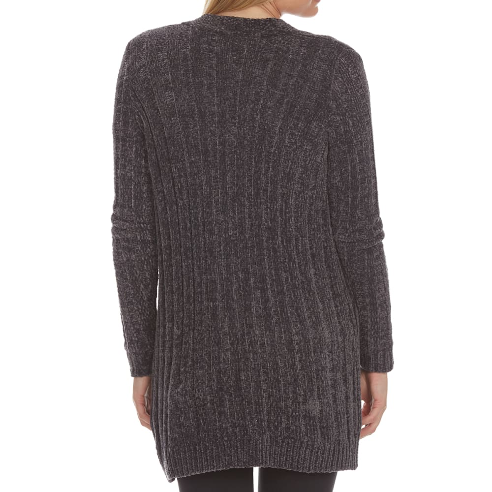 ABSOLUTELY FAMOUS Women's Chenille Ribbed Cardigan - GUN METAL