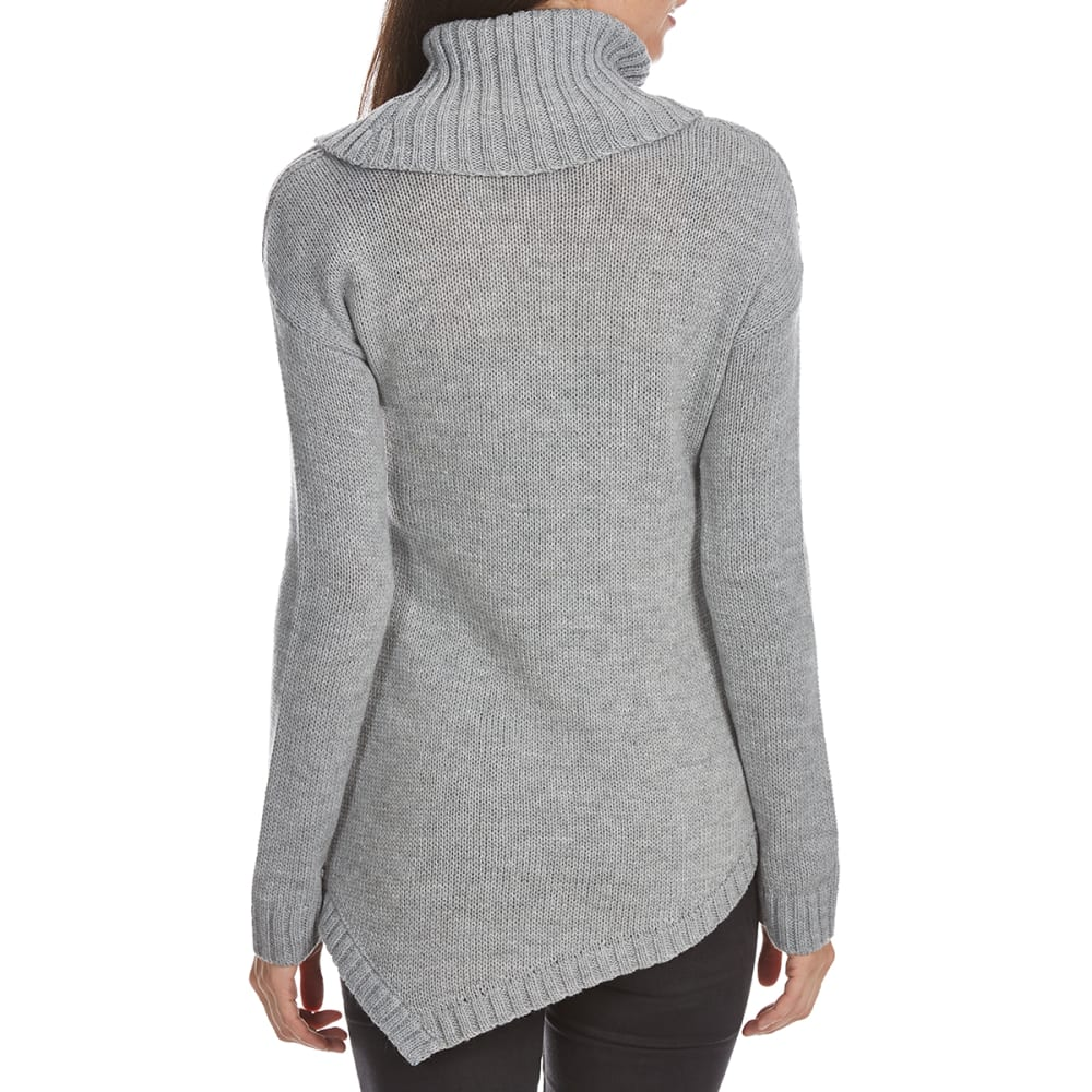 ABSOLUTELY FAMOUS Women's Cowl Neck Asymmetrical Cable Front Long-Sleeve Sweater - LT GREY HEATHER