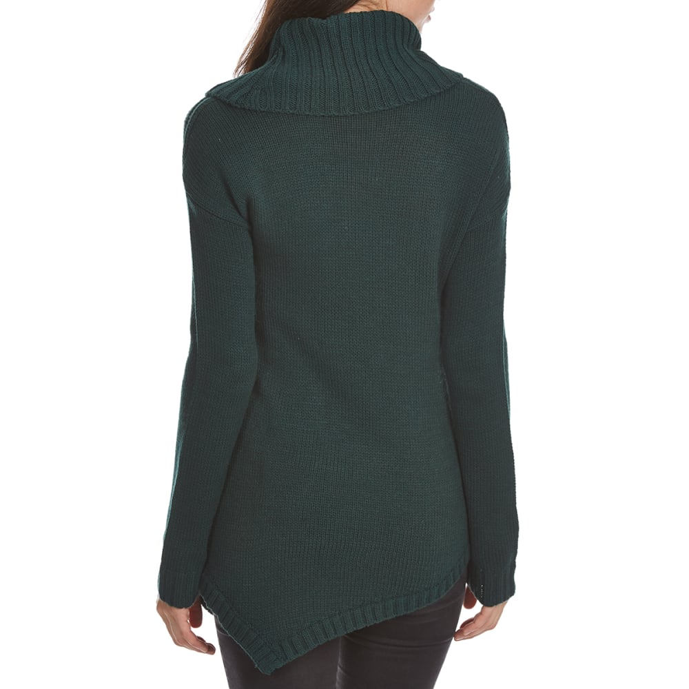 ABSOLUTELY FAMOUS Women's Cowl Neck Asymmetrical Cable Front Long-Sleeve Sweater - HUNTER GREEN
